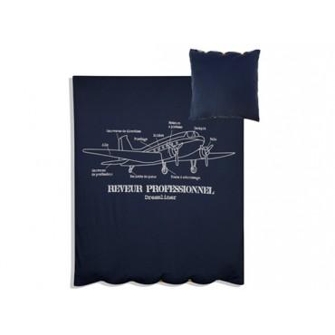 Parure de lit Rêveur professionnel - Bleu marine et gris