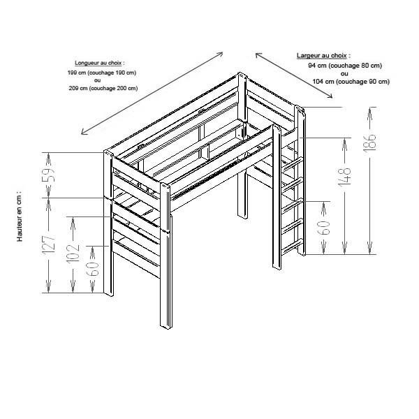 Croquis du lit mezzanine hauteur 186 cm dissociable