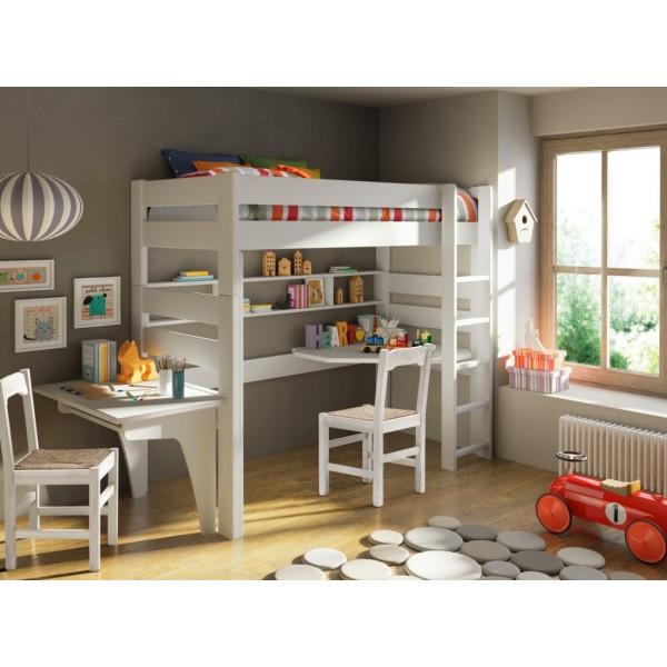 Lit mezzanine H186 cm + Bureau coin et allonge + Bureau surélevé Blanc