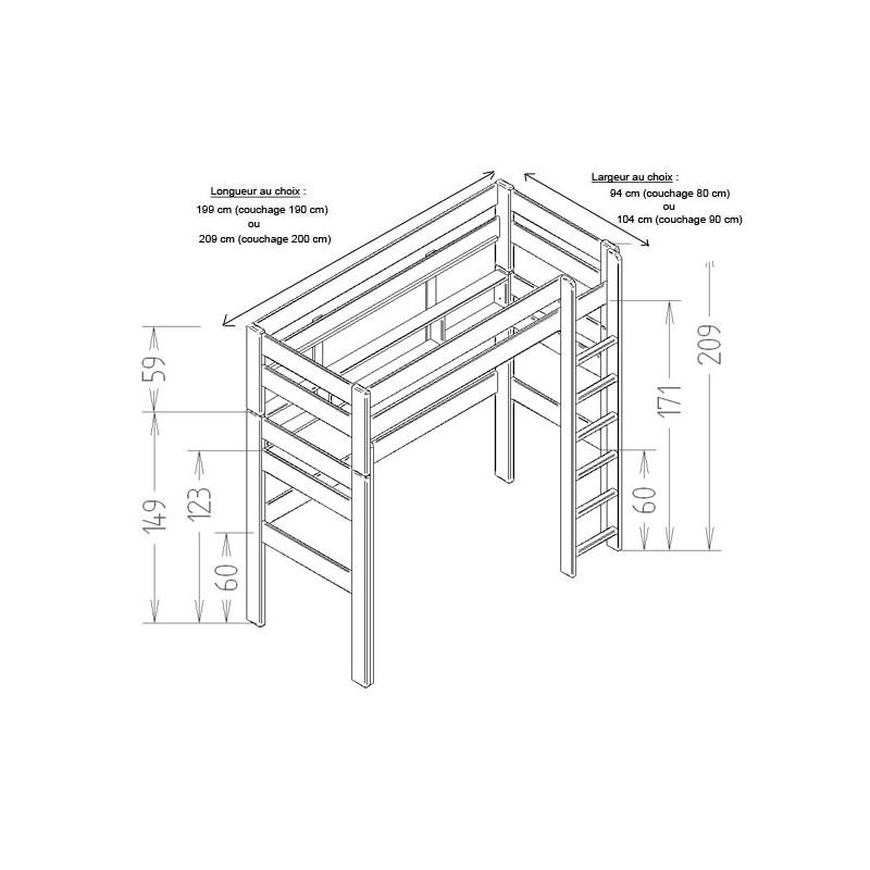 Lit mezzanine dominique hauteur 209 cm dissociable le - Lit mezzanine hauteur 150 cm ...