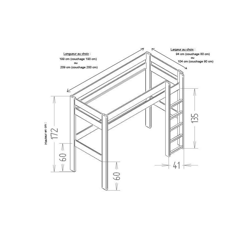 lit mezzanine dominique hauteur 172 cm le pestacle de ma lou. Black Bedroom Furniture Sets. Home Design Ideas