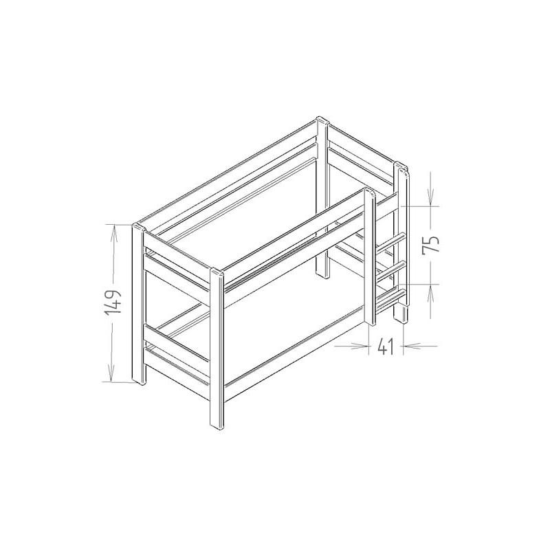 lits superpos s dominique hauteur 149 cm indissociables. Black Bedroom Furniture Sets. Home Design Ideas