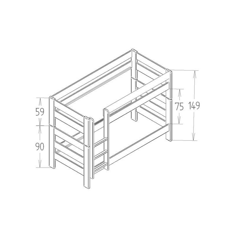 lits superpos s dominique hauteur 149 cm dissociables le. Black Bedroom Furniture Sets. Home Design Ideas
