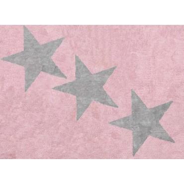 Tapis lavable 3 étoiles Grises - Rose