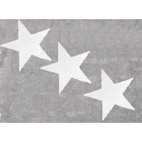 Tapis lavable 3 étoiles Blanches - Gris