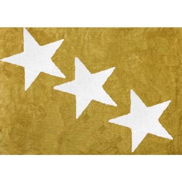 Tapis lavable 3 étoiles Blanches - Moutarde