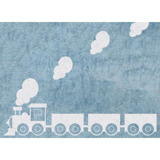 Tapis train blanc - Bleu ciel