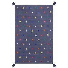 Tapis tissé main - Gris et étoiles muticolores