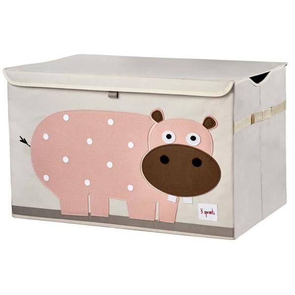 Coffre à jouets tissu - Hippopotame rose