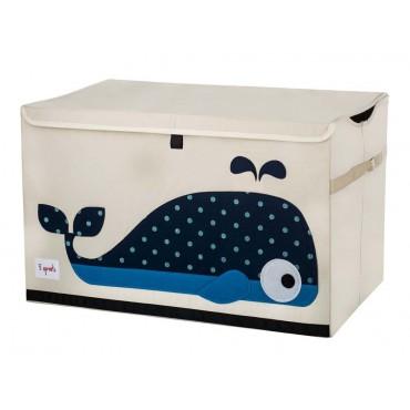 Coffre à jouets tissu - Baleine bleue