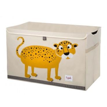Coffre à jouets tissu - Léopard jaune moutarde