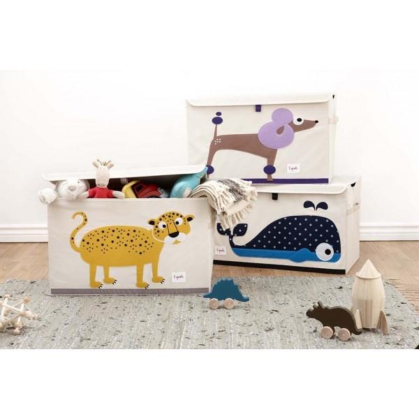 Coffre à jouets tissu - Eléphant gris