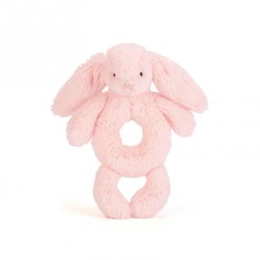 Hochet d'éveil lapin - Bashful grabber rose clair