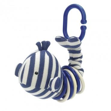 Hochet d'éveil baleine - Walter clicketty blanc bleu