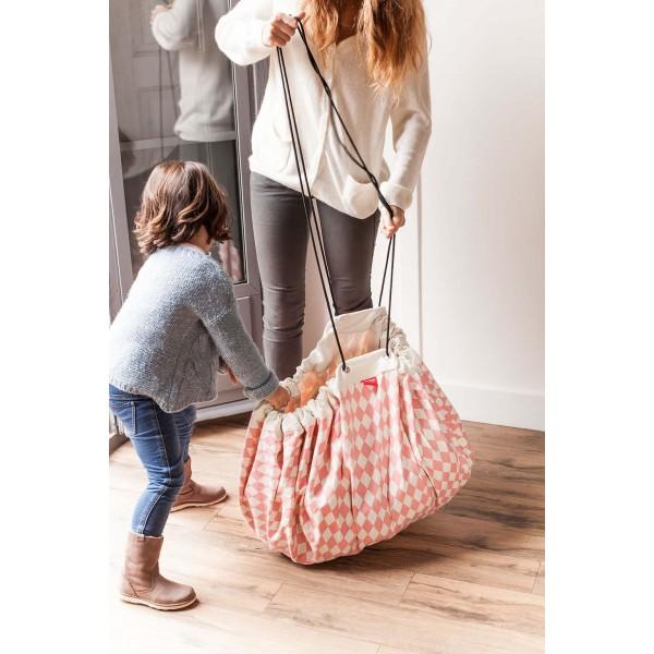 Tapis de jeu et sac de rangement - Losange rose