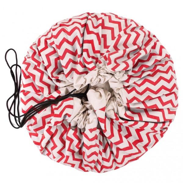 Tapis de jeu et sac de rangement - Zigzag rouge
