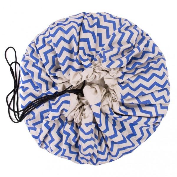 Tapis de jeu et sac de rangement - Zigzag bleu