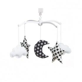 Mobile musical bébé - Lune et étoiles noir et blanc