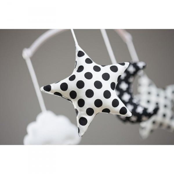 Mobile musical bébé - Lune & Etoiles noir et blanc