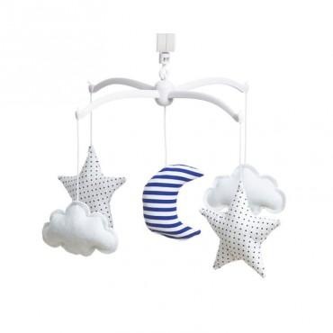 Mobile musical bébé - Lune & Etoiles marinière