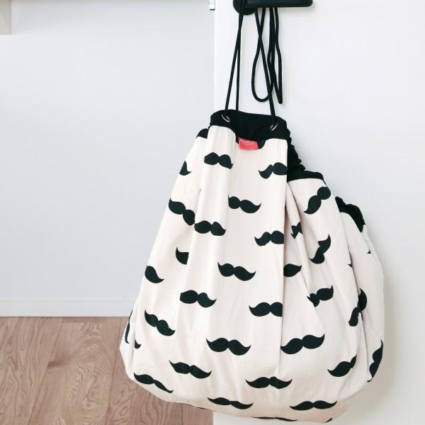 Tapis de jeu et sac de rangement - Moustache noire