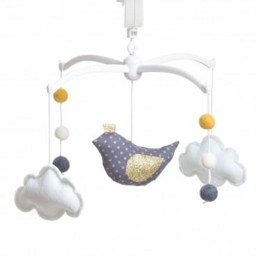 Mobile musical bébé - Oiseau couronne encre doré