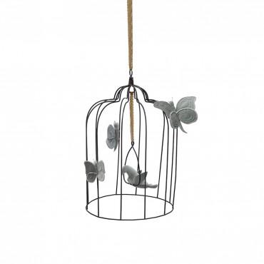 Cage à oiseau et papillons - Gris clair Large