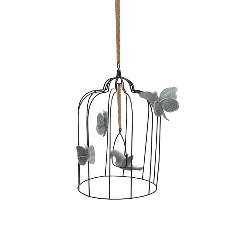 cage oiseau et papillons gris clair large le. Black Bedroom Furniture Sets. Home Design Ideas