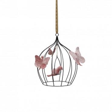 Cage à oiseau et papillons - Vieux rose Small