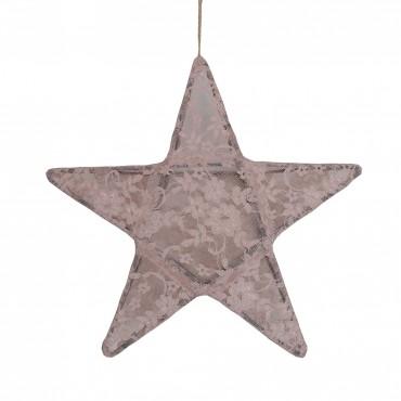 Lanterne étoile dentelle - Lace, Vieux rose