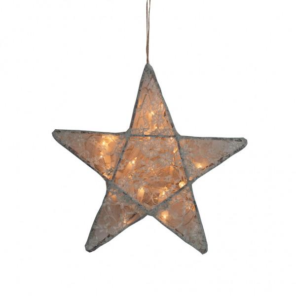 Lanterne étoile dentelle allumée - Lace, Gris clair
