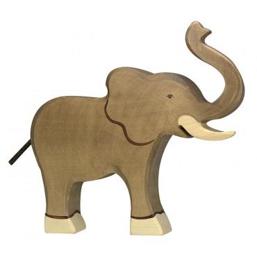Figurine en bois - Eléphant trompe haute