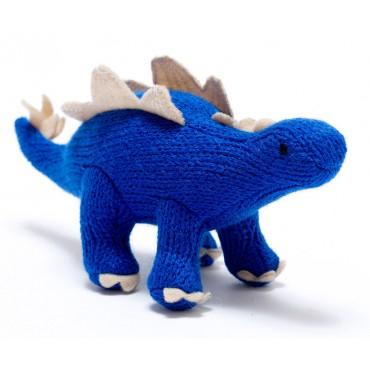 Hochet dinosaure au crochet - Stegosaurus bleu