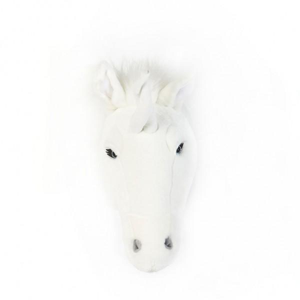 Trophée peluche - licorne blanche - face
