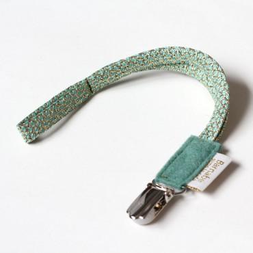 Attache tétine coton et lurex - Vert amande