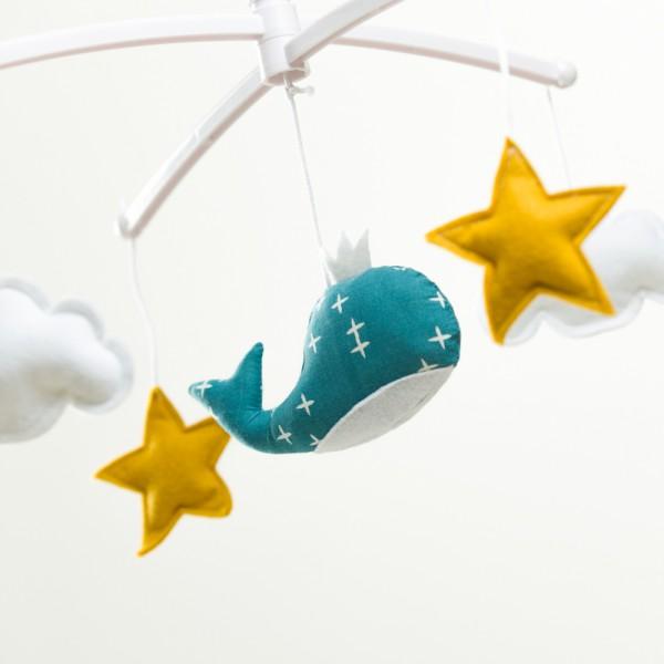Mobile musical bébé - Baleine bleu canard