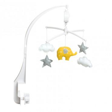 Mobile musical bébé - Eléphant jaune