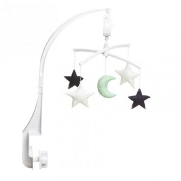 Mobile musical bébé - Lune et étoiles vert mint et marine