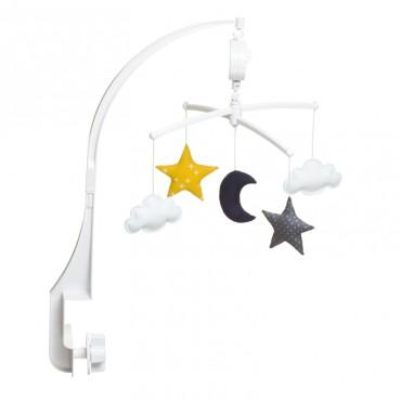 Mobile musical bébé - Lune et étoiles encre et jaune