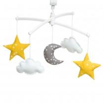 Mobile musical bébé - Lune et Etoiles jaune et gris