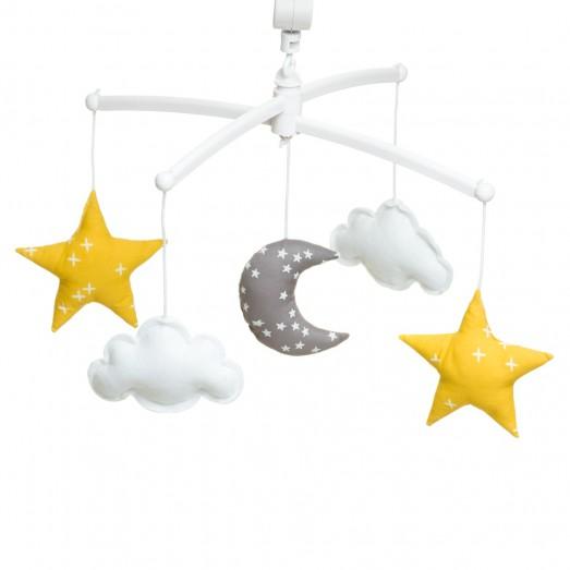 Mobile musical bébé - Lune et étoiles jaune et gris