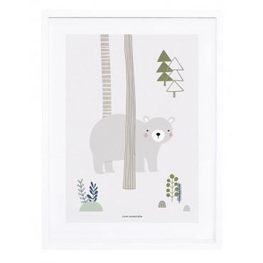 Affiche encadrée 30x40 cm - Forêt ours