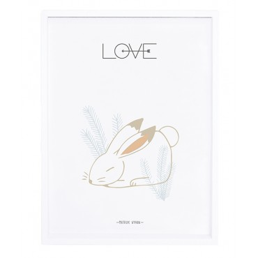 Affiche encadrée 30x40 cm - Lapin love