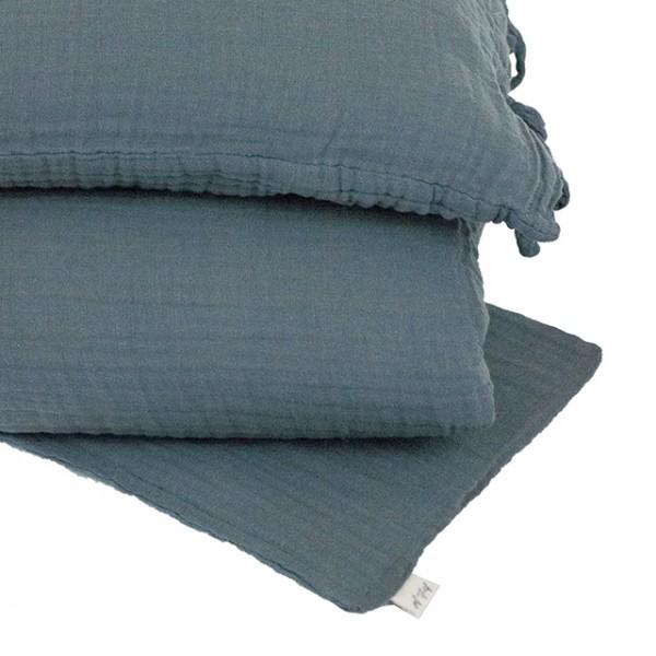 Parure de lit lange uni - Bleu gris