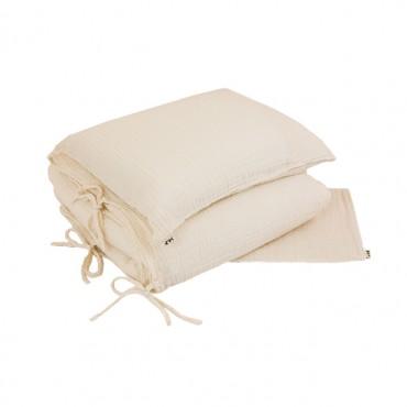 Parure de lit lange uni - Blanc cassé
