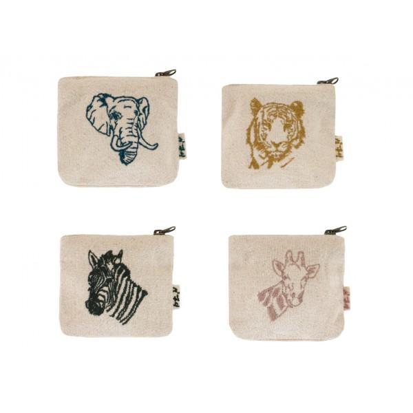 Assortiment de 4 porte-monnaies tissus - Animal