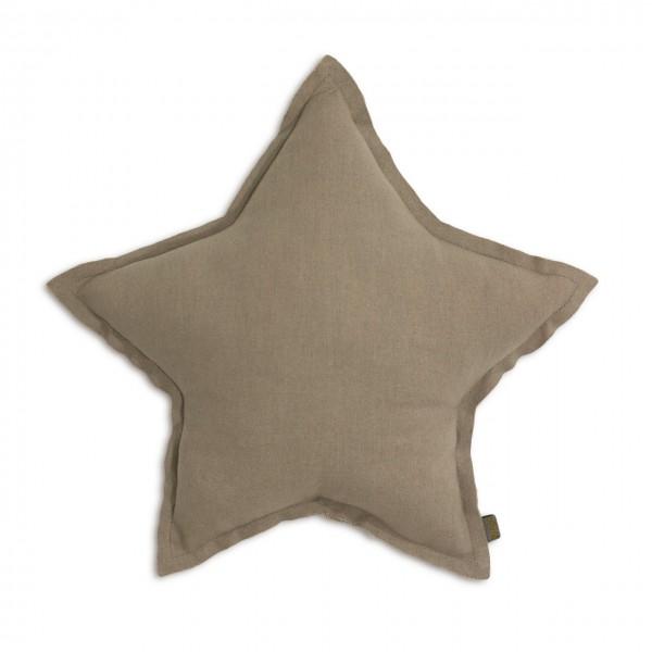 Coussin coton étoile - Taupe