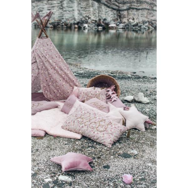 Coussin coton étoile - Vieux rose