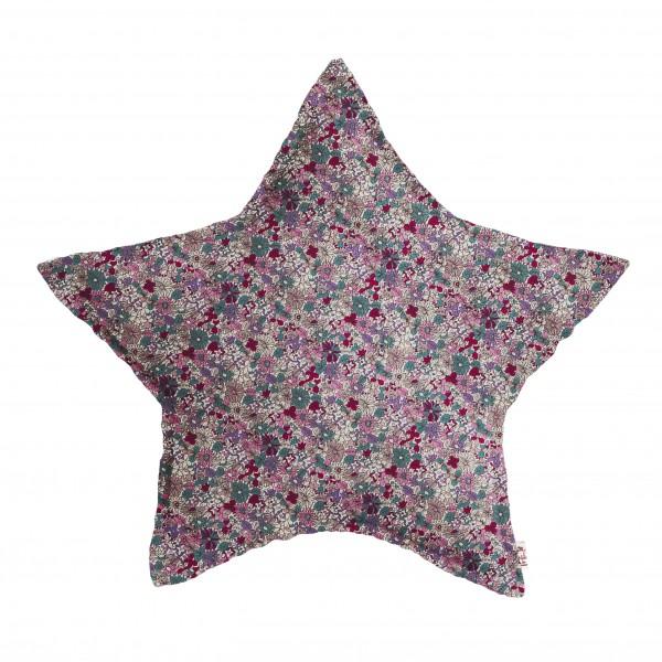 Coussin tissu étoile Fleurs - Rose