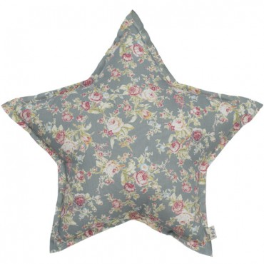 Coussin tissu étoile Fleurs - Bleu